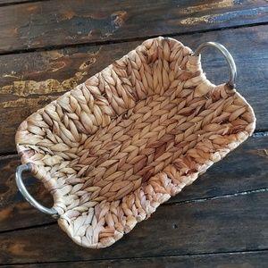 Large Wicker chrome handled basket 15 x 12